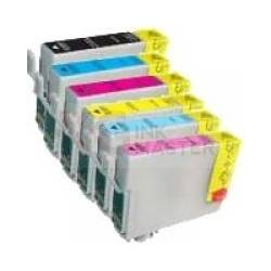 6 Pack Compatible Epson T0851 T0852 T0853 T0854 T0855 T0856 Ink Cartridge Set (1B,1C,1M,1Y,1LC,1LM) High Yield