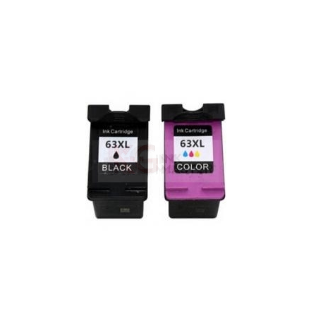 2 Pack HP 63XL Compatible High Yield Inkjet Cartridges F6U64AA + F6U63AA [1BK,1CL]